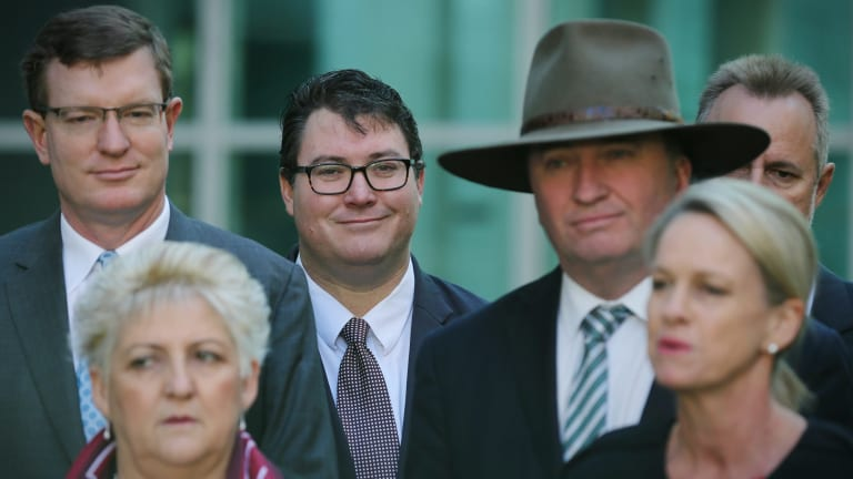 Nationals MPs, including leaders Barnaby Joyce and Fiona Nash (right), who were recently found ineligible by the High Court.