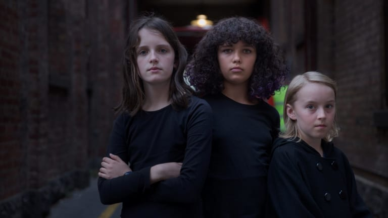 From left, Clea Carney, Lola Morgan and Thomas Taylor invite adults into their world in Lone.