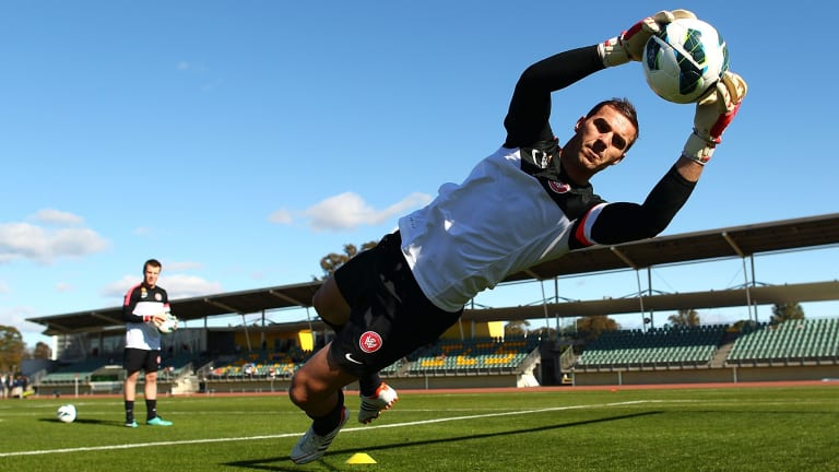 Ante Covic runs some drills during Wanderers training at the Blacktown International Sportspark.