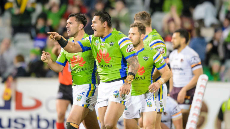 Canberra Raiders centre Joey Leilua roars after scoring a try against the Broncos.