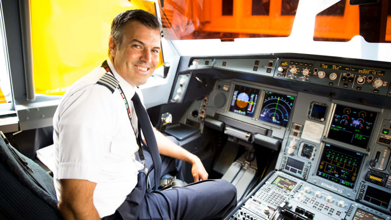 Captain Brian Beres prepares to fly his Hawaiian Airlines Airbus A330 to Brisbane on the inaugural ASPIRE flight.
