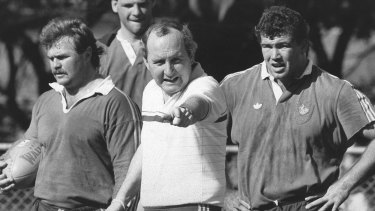 Another time: Alan Jones puts the Wallabies through their paces at training in 1987.