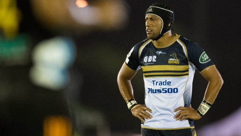 Christian Lealiifano of the Brumbies shows his frustration.
