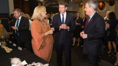 Australian Museum director, Kim McKay, and NSW Premier Mike Baird inside the museum's Long Gallery.