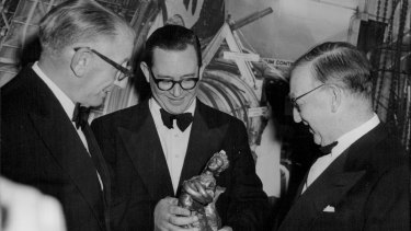 At the Hulton Achievement Award held at the Savoy in April 1958 were, from left,  Dr Thonemann, Sir John Cockcroft and Sir Edward Hulton.