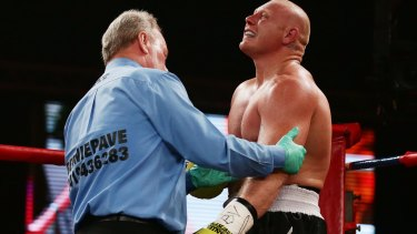 Early end: Anthony Watts barely lasted two minutes against Paul Gallen.