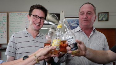 Water Minister David Littleproud and his predecessor, Barnaby Joyce, on the campaign trail in New England.
