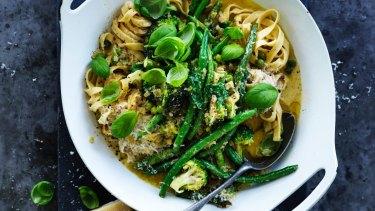 Green vegetable pasta primavera.