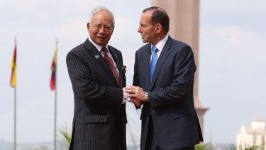 Malaysian Prime Minister Najib Razak with Australian prime minister Tony Abbott in Kuala Lumpur last year.