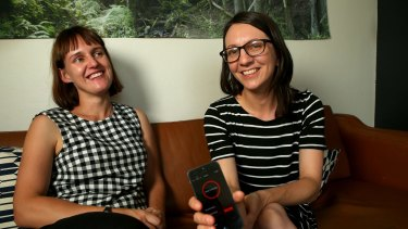 Emma Clark and Tess McCabe record a podcast called 'The New Normal' about parents running creative businesses.