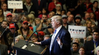 Republican presidential candidate Donald Trump speaks at a rally Wisconsin on Wednesday.
