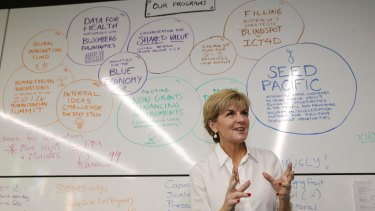 Foreign Affairs Minister Julie Bishop at the Innovation Xchange, a specialist unit developing ideas in aid delivery.