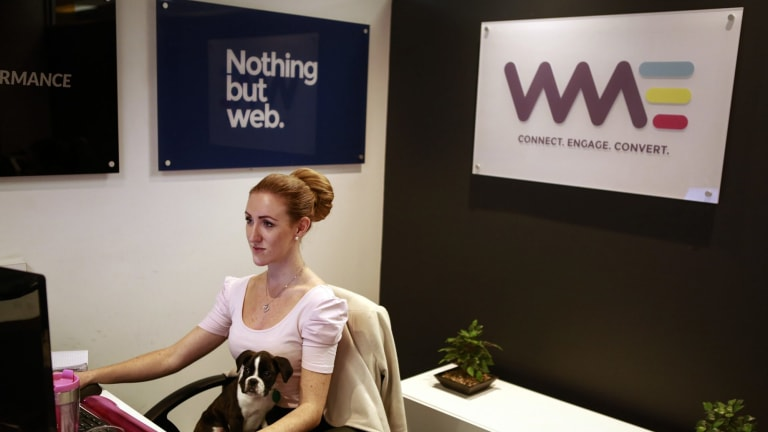 """Allana Burns, receptionist with Trinity at WME Group, a digital marketing agency, on its """"bring your dog to work day"""" on May 13."""