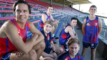 New Western Bulldogs draftees (left to right): Lukas Webb, Zaine Cordy, Bailey Dale, Toby McLean, Caleb Daniel and Declan Hamilton at Whitten Oval on Tuesday.