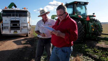 Andrew Pursehouse (left) with Tim Duddy, two local farmers opposed to the Shenhua Watermark mine.