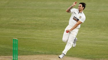 Need for speed: Mitchell Johnson prepares to let fly against Tasmania.