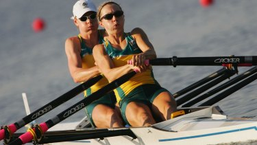 Time trials: : Callie, left, and Halliday compete in the lightweight double sculls during the 2004 Olympics