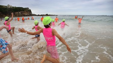 Coogee Nippers take to the water at the north end.