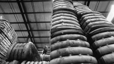 Stockpiled bales of wool at the Australian Wool Board workhouse in 1990.