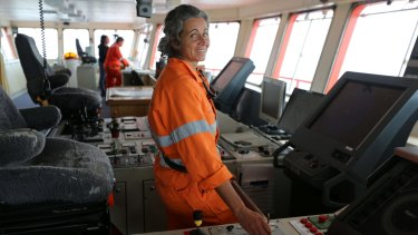 Madeleine Habib on the Aurora Australis in 2013.
