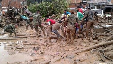The sea of mud in Mocoa, near Colombia's border with Ecuador, on Saturday.