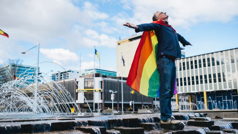 The rainbow flag flew freely in Civic Square on Saturday.