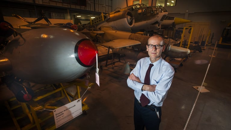 Senior curator of military heraldry and technology Shane Casey at Australian War Memorial's Treloar Technology Centre that will once again hold its Big things in store open day on September 5.