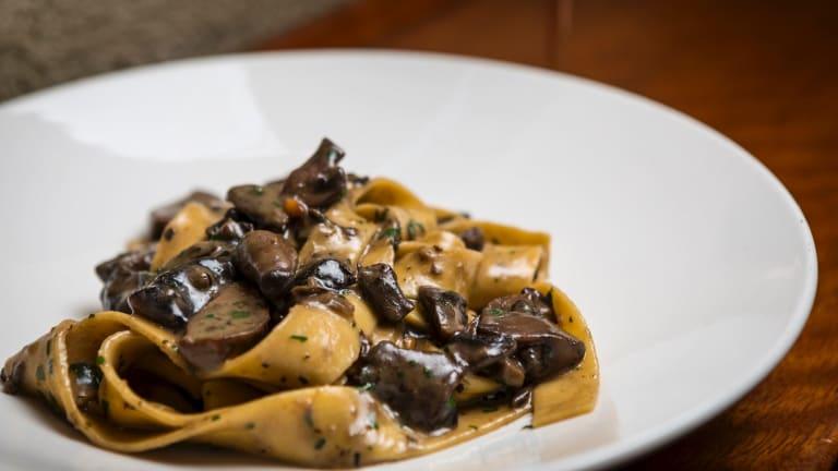 Parppadelle with mushrooms at Il Solito Posto.