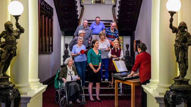The neurological choir organised by speech pathologists at the War Memorial Hospital in Waverley.