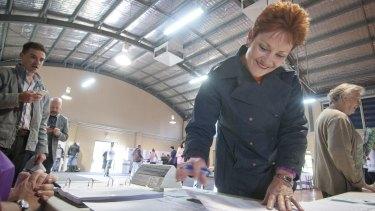 BRISBANE, AUSTRALIA Pauline Hanson at Brisbane's Jamboree State School on election day.