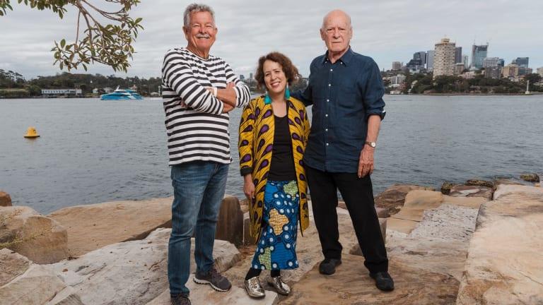 Harbourside: Ken Done, Wendy Sharpe and Michael Johnson at Barangaroo reserve.
