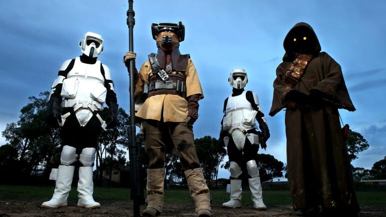 Jack Polgar (biker scout), Kellie Wicks-Preshaw (the bounty hunter Boushh), Logan Preshaw (biker scout) and Shelby Preshaw (Jawa the scavenger) are ready for International Star Wars Day on May 4.