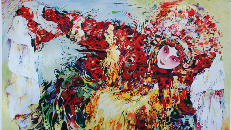The Drunken Lady artwork looks like a painting, but is a result of thousands of threads woven together.