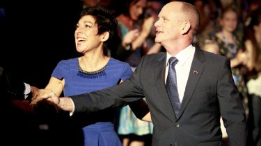 Premier Campbell Newman and his wife Lisa arrive at the LNP Campaign Launch, Brisbane Convention Centre.