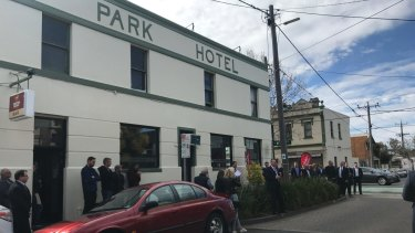 A classic Melbourne pub. The Park Hotel on the corner of Vere and Nicholson streets in Abbotsford.