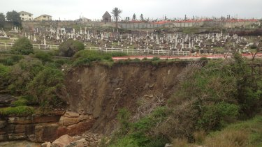 Sunday's wild weather has taken a 50-metre-wide bite out of the Bronte coastline below the Waverley Cemetery.