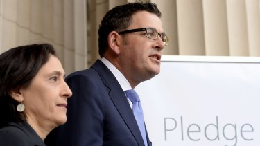 Premier Daniel Andrews and and Minister Lily D'Ambrosio called for voluntary emissions pledges last year.
