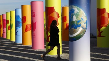 A carnival of lobbying and diplomatic power plays: A participant arrives at the climate conference in Paris.