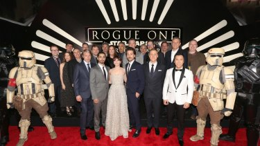 The cast and crew of Rogue One at the premiere in Hollywood.