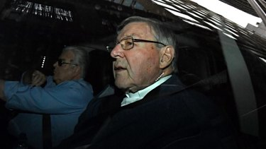 George Pell arrives at his barrister's chambers in Melbourne ahead of his court hearing on Friday.
