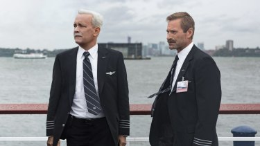 Tom Hanks as Chesley Sullenberger and Aaron Eckhart as Jeff Skiles in <i>Sully</i>, a film about the US Airways pilot who landed his airliner in New York's Hudson River after its engines had suffered bird strike.