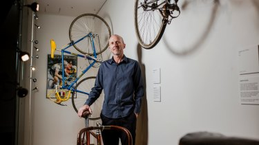 Peter Taylor with some of his collection of vintage racing cycles on display at CMAG.