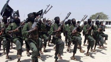 Al-Shabab fighters outside of the Somalian capital Mogadishu in 2011.