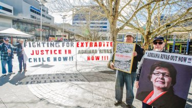 A protest in Canberra in 2014, calling for the extradition of Adriana Rivas.