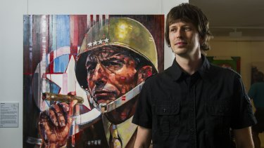 Arthur Roman Piwko (AKA Pic Poc) with his painting of Tony Abbott titled  'Sir, Yes Sir' in the Bald Archies.