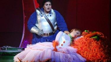 Rosario La Spina (The Prince) and Catherine Bouchier (Princess Nicoletta) in <i>The Love for Three Oranges</I>.