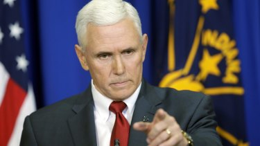 Indiana governor Mike Pence answers questions about his 'religious freedom' law on Tuesday.