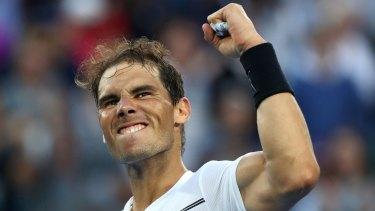 Rafael Nadal celebrates his marathon win over Germany's Alexander Zverev.