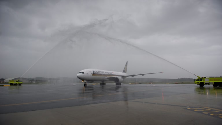 Water cannons greeted the first Singapore Airlines flight.