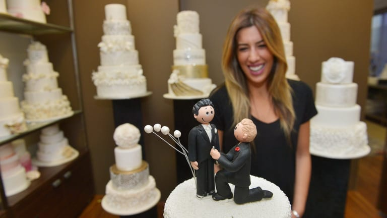 Oakleigh cake shop owner Denise Paras is prepared for groom and groom-themed cakes.